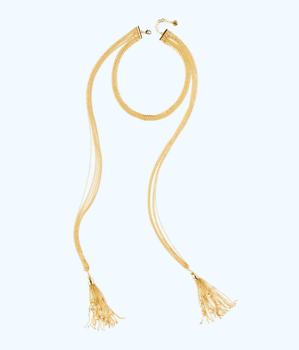 Caught Up Necklace, Gold Metallic, large