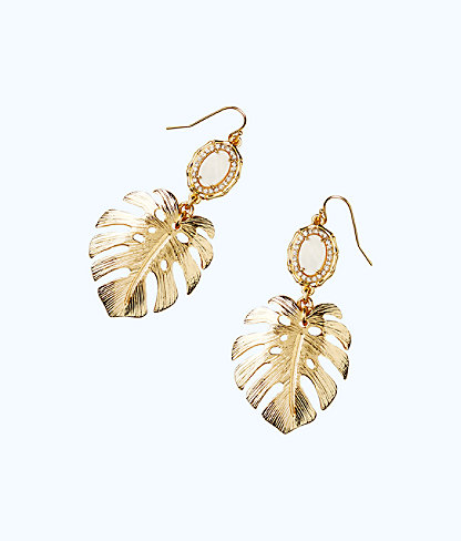 Palm Earring, Gold Metallic, large