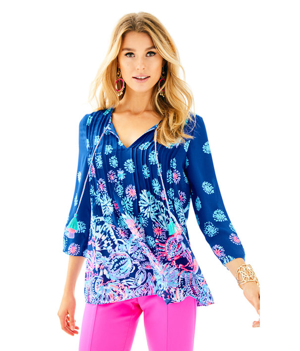 Marilina Tunic Top, Deep Indigo Gypsea Girl Engineered Top, large