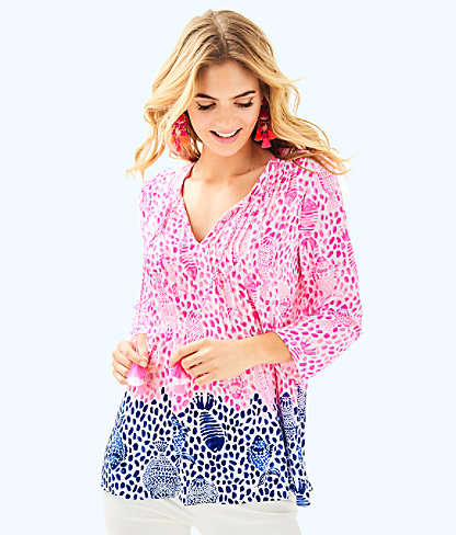 Marilina Tunic Top, Raz Berry Heart And Sole Engineered Top, large