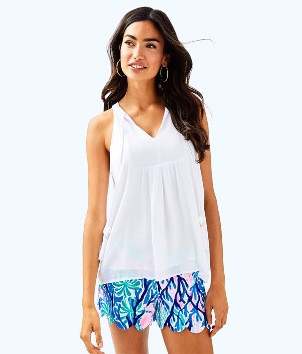 Sleeveless Avery Top, Resort White, large