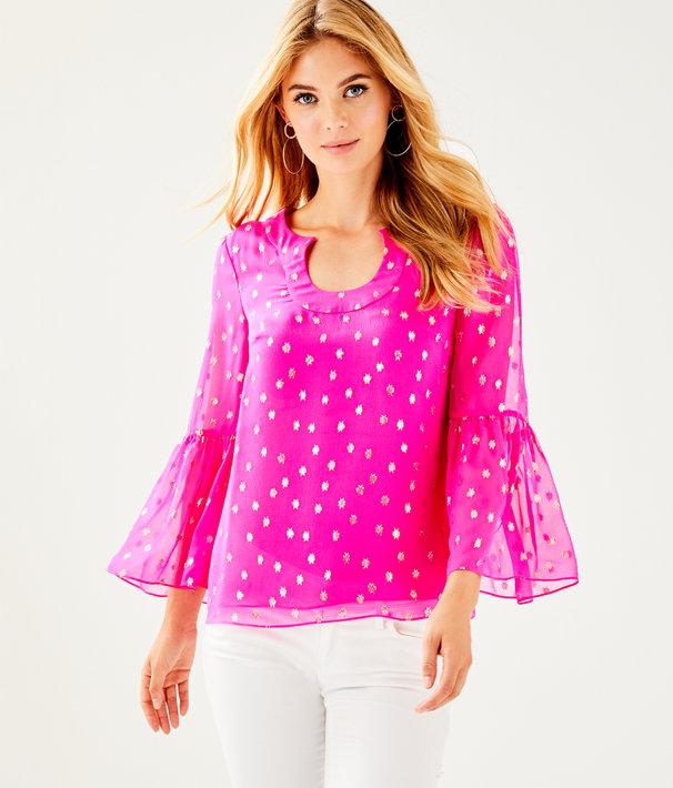 Amory Top, Pinata Pink Starry Clip Chiffon, large