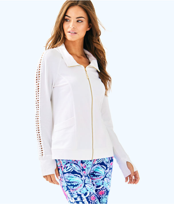 Brigantine Zip Up, Resort White Glitter Stripe Pineapple Large, large