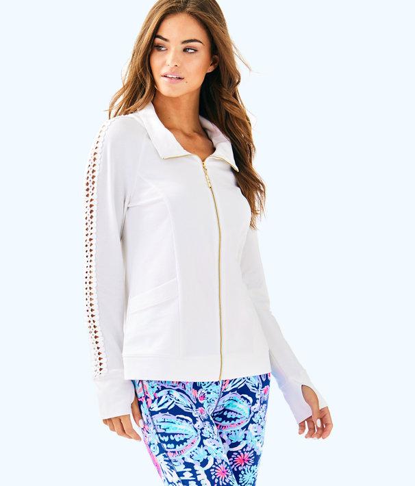 Brigantine Zip Up, Resort White Glitter Stripe Pineapple Large, large