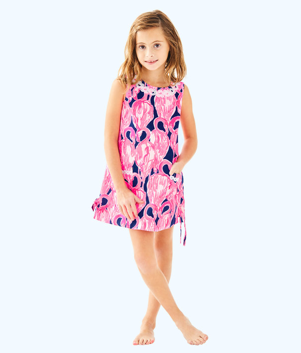 Girls Little Lilly Classic Shift, High Tide Navy Via Amor, large
