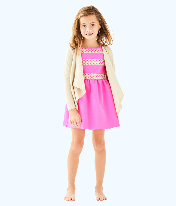 Girls Mini Colony Cardigan, Gold Metallic, large
