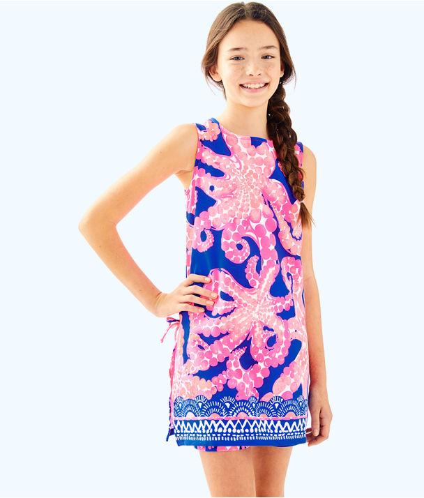 Girls Mini Donna Set, Ikat Blue Mocean Engineered Kids Set, large