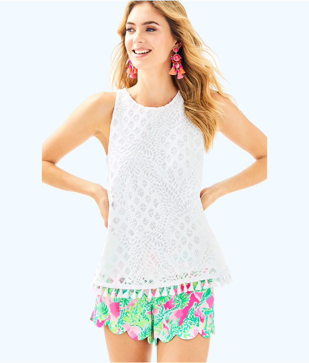 Lynn Top, Resort White Pineapple Geo Lace, large