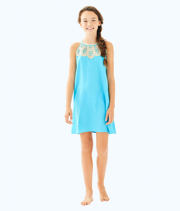 Girls Mini Pearl Shift, Blue Ibiza, large