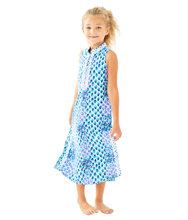 Girls Mini Jane Maxi Dress, Resort White Toe In, large