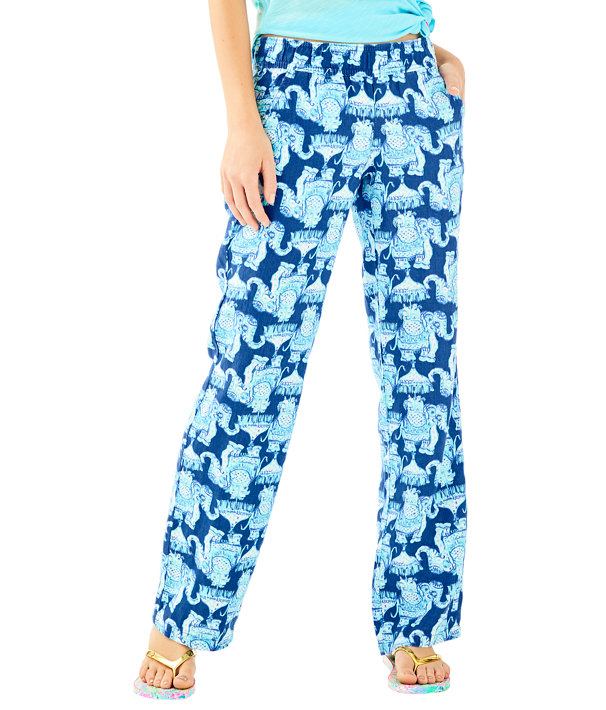 "33"" Florita Linen Pant, Deep Indigo Joy Ride, large"
