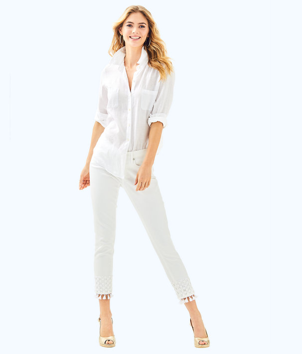 """28"""" South Ocean Skinny Crop Pant with Lace, Resort White, large"""