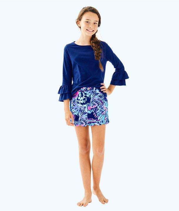Girls Mini Colette Skort, Deep Indigo Gypsea Girl, large