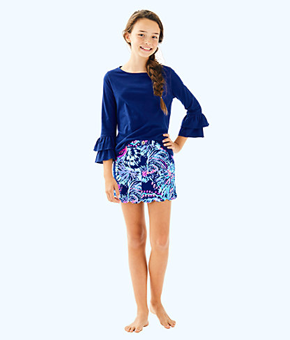 Girls Mini Colette Skort, Deep Indigo Gypsea Girl, large