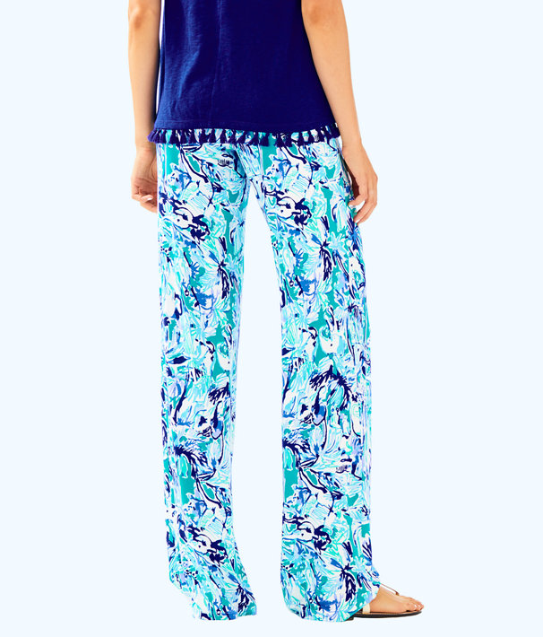 """32"""" Lorena Breezy Palazzo Pant, Tropical Turquoise Elephant Appeal, large"""