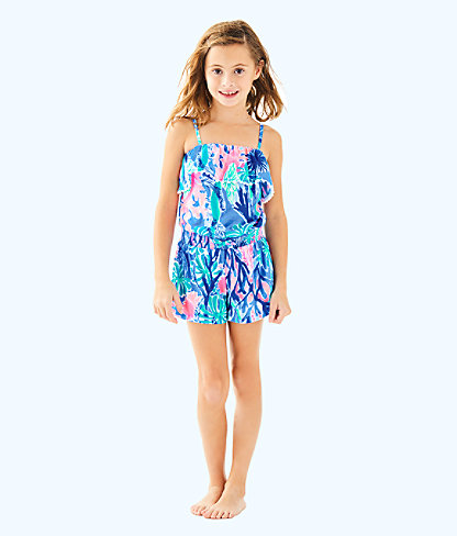 Girls Leonie Romper, Multi Jet Stream, large