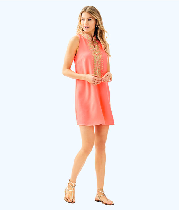 Jane Shift Dress, Sunrise Coral, large