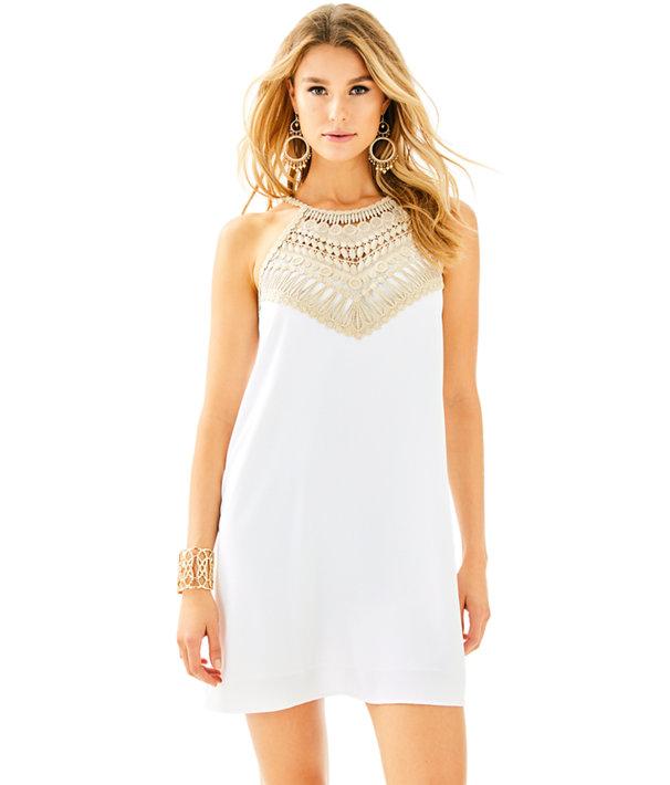 Pearl Soft Shift Dress, Resort White, large