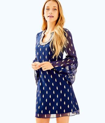 Amory Silk Dress, True Navy Diamond Metallic Clip, large