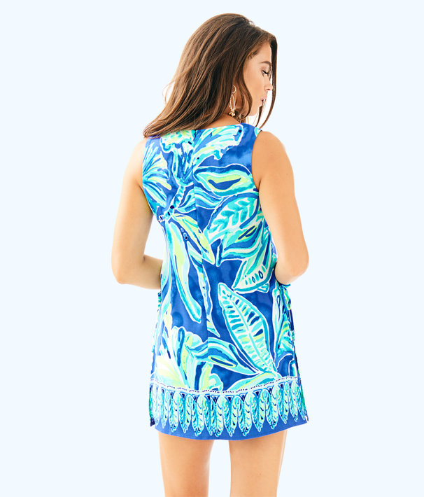Donna Romper, Beckon Blue Palm Passage Engineered Romper, large