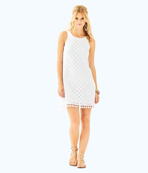 Marquette Shift Dress, Resort White Pineapple Geo Lace, large