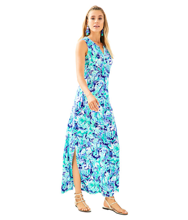 Essie Maxi Dress, Tropical Turquoise Elephant Appeal, large