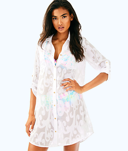 Natalie Coverup, Resort White Poly Crepe Swirl Clip, large