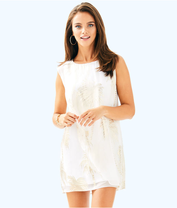 Calissa Silk Dress, Resort White Jumbo Palm Tree Clip, large