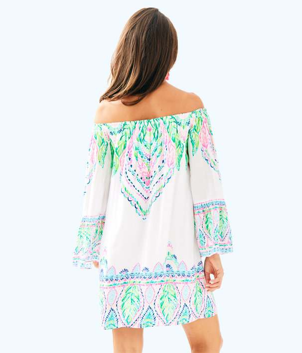 Nevie Off The Shoulder Dress, Multi Coconut Coast Engineered Dress, large