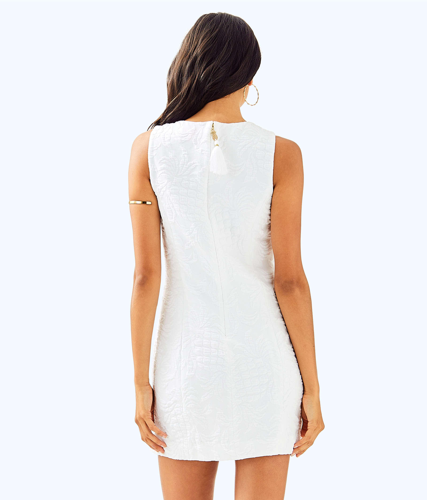 90d07a35ed0904 ... Keali Stretch Shift Dress, Resort White Pineapple Jacquard, large ...