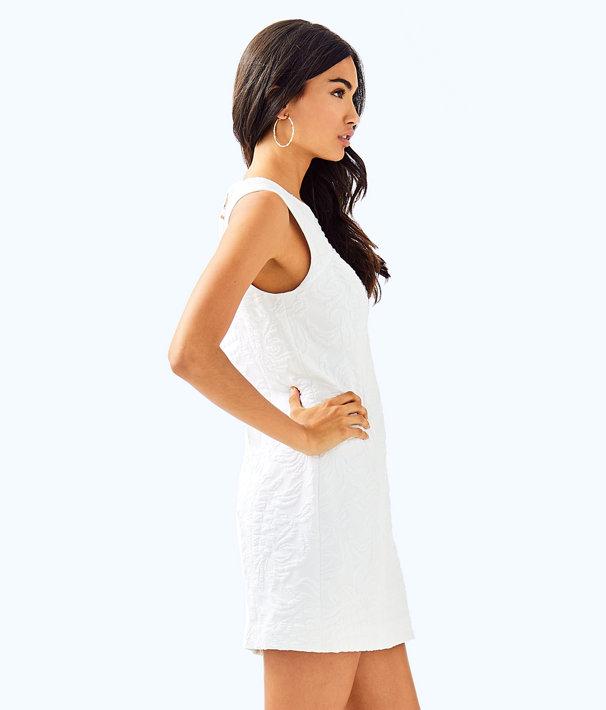 Keali Stretch Shift Dress, Resort White Pineapple Jacquard, large