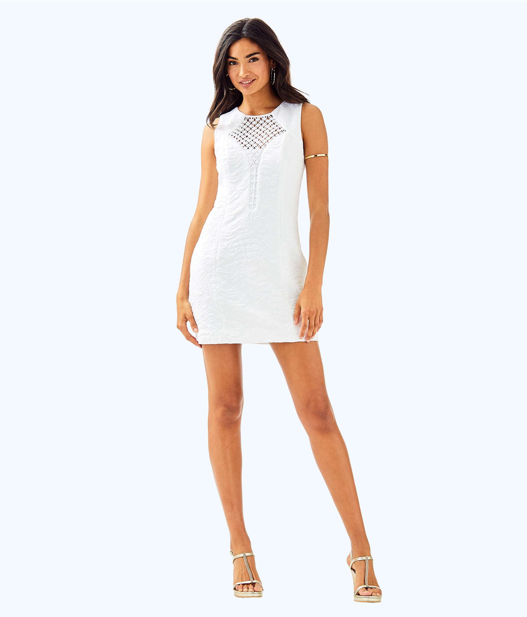 29eaa49ab643c8 ... Keali Stretch Shift Dress, Resort White Pineapple Jacquard, large ...