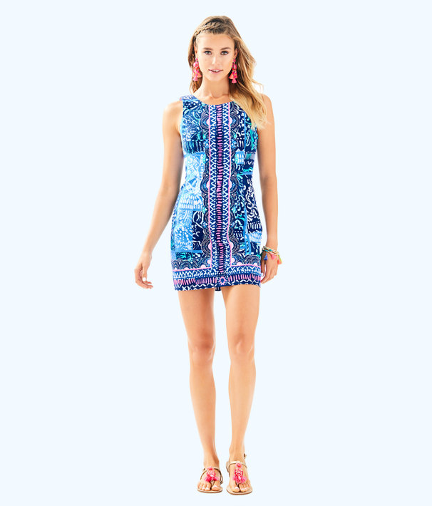 Mila Stretch Shift Dress, Deep Indigo Leied Back Engineered Dress, large