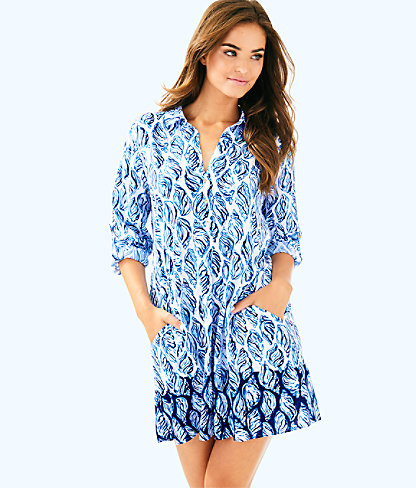 Lillith Tunic Dress, Resort White Drop In Engineered Tunic, large