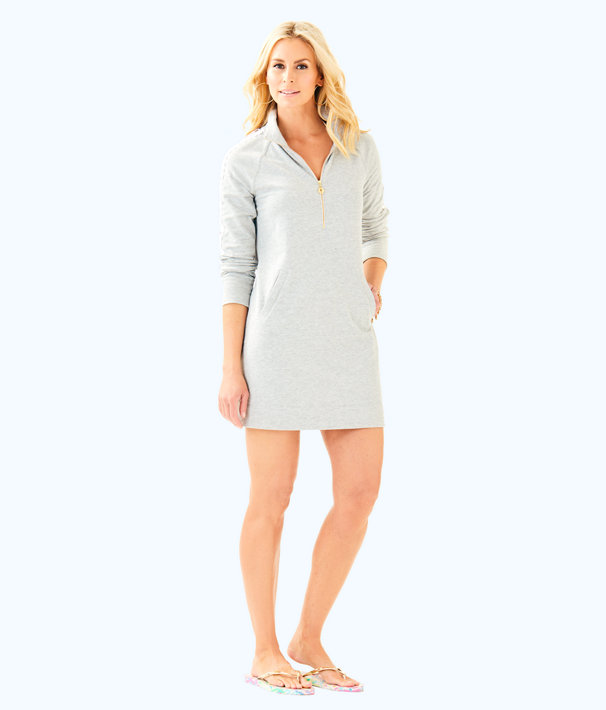 Skipper Solid Popover Dress, Heathered Seaside Grey, large