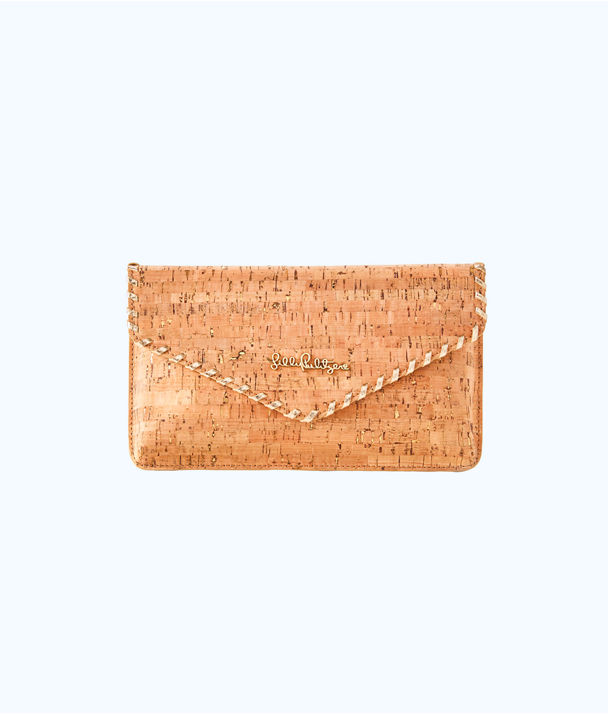 St. Barts Cork Clutch, Natural, large