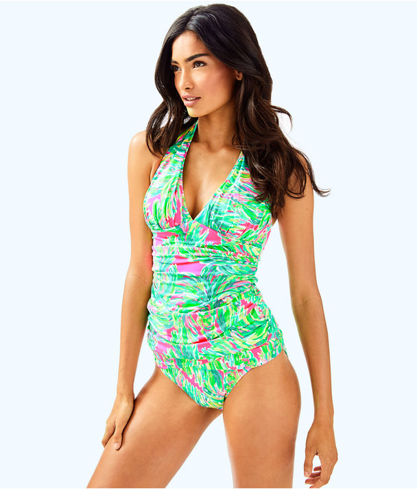 Bliss Halter Tankini Top, Multi Shady Lady Swim, large