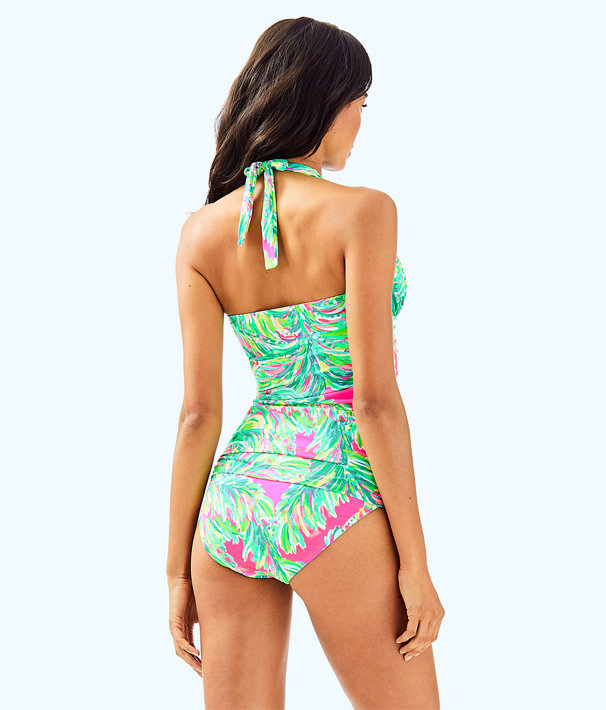 Bliss Halter Tankini Top, Multi Shady Lady Swim, large