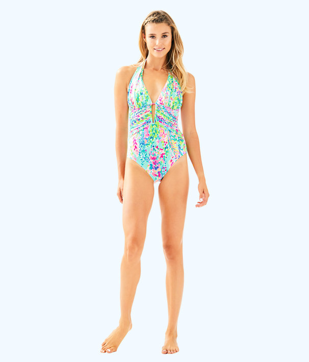 Lanai Halter One Piece Suit, Multi Catch The Wave Swim, large