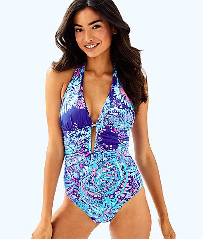 Lanai Halter One Piece Suit, Twilight Blue Gypsea Girl Swim, large