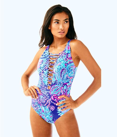 Isle Lattice One Piece Suit, Twilight Blue Gypsea Girl Swim, large