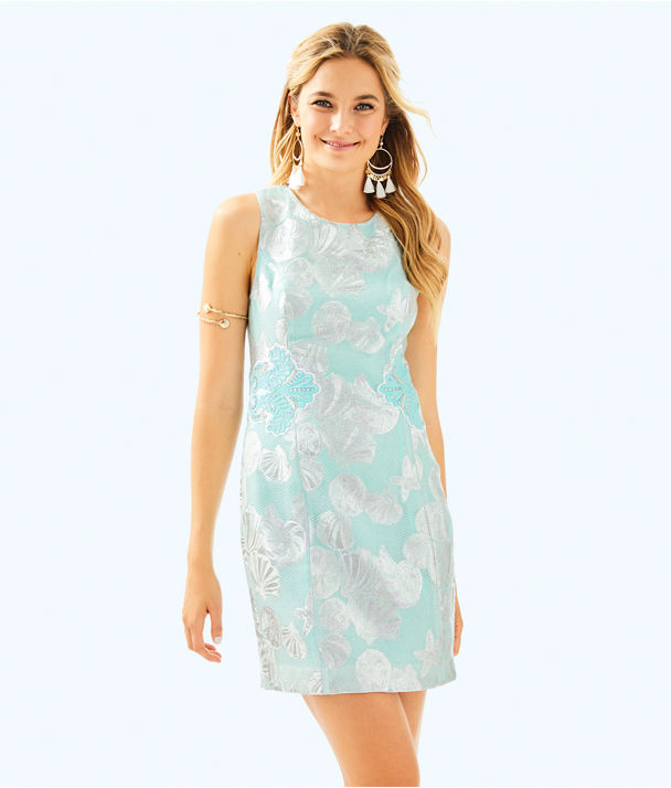 Mila Shift Dress, Seasalt Tint Metallic Shell Jacquard, large