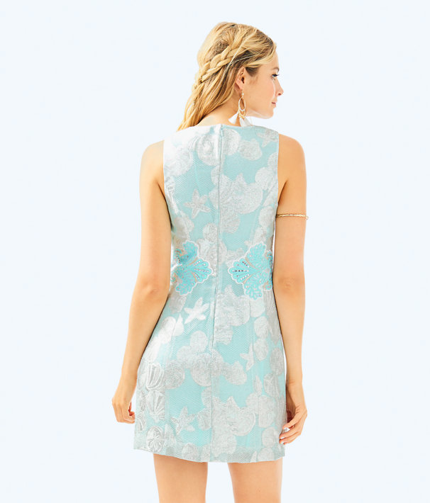 Mila Shift Dress, Seasalt Tint Metallic Shell Jacquard, large