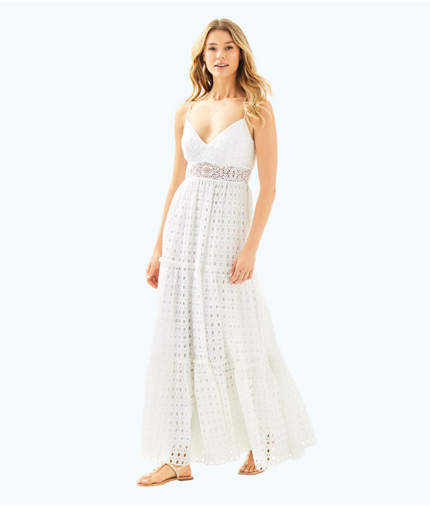 Melody Maxi Dress, Resort White Stripey Rayon Eyelet, large