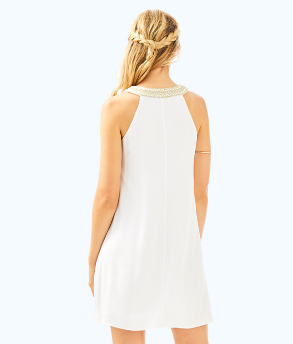 Valli Soft Shift Dress, Resort White, large