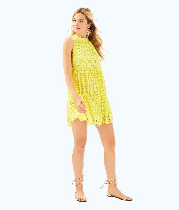 Indira Dress, Lillys Lemon Stripey Rayon Eyelet, large