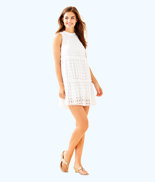 Indira Dress, Resort White Stripey Rayon Eyelet, large