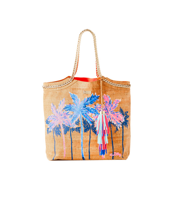 Printed Beach Comber Cork Tote, Multi Palm Tree Cork Tote, large
