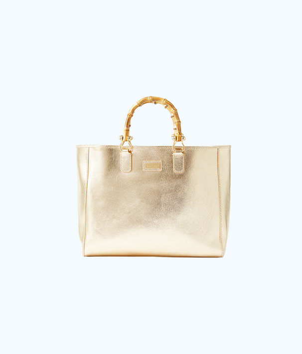 Soiree Leather Tote Bag, Gold Metallic, large