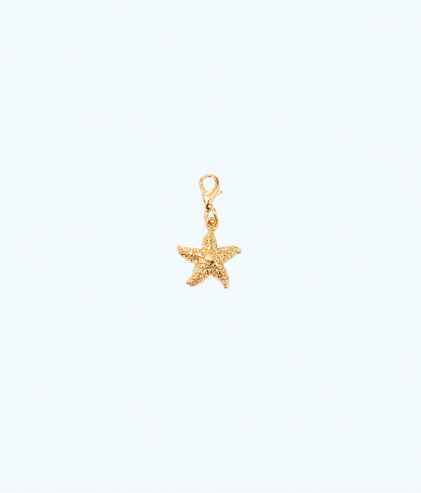 Removable Starfish Zipper Pull, Gold Metallic, large